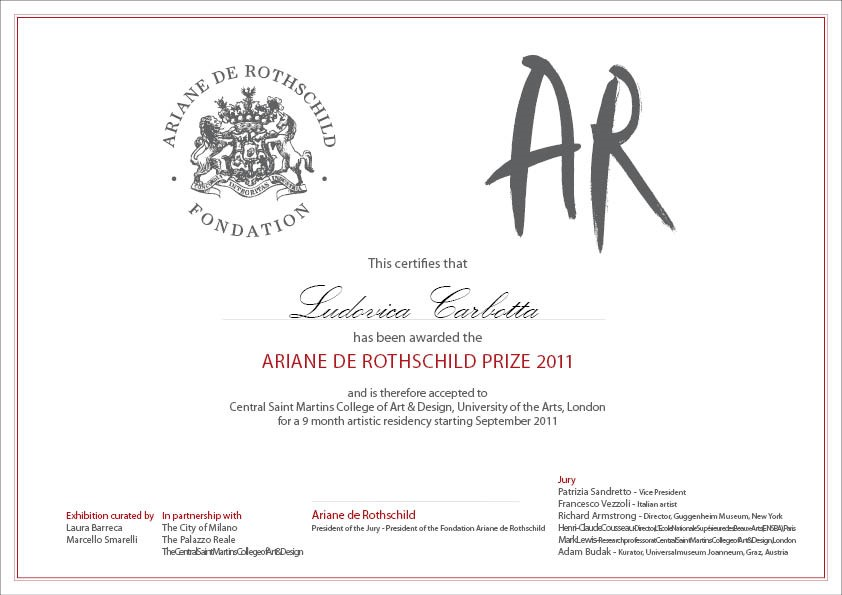 Ludovica Carbotta wins the 5th Ariane de Rothschild Prize 2011